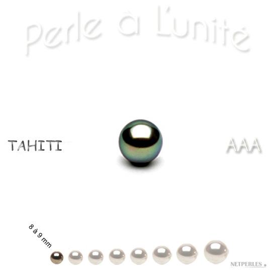 Perle de culture de Tahiti de 8 à 9 mm qualité AAA