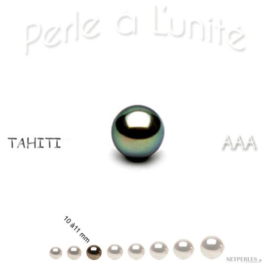 Perle de culture de Tahiti de 10 à 11 mm qualité AAA