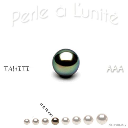Perle de culture de Tahiti de 11 à 12 mm qualité AAA
