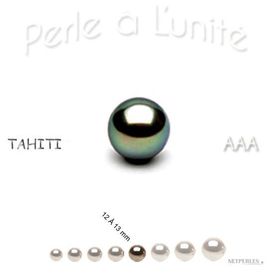 Perle de culture de Tahiti de 12 à 13 mm qualité AAA