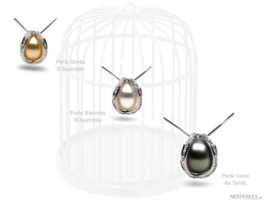 Pendentifs Or Gris 18 carats et Diamants avec perle de culture