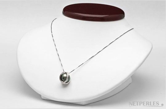Pendentif Or gris 18 carats avec diamants et perle de culture de Tahiti qualité AAA