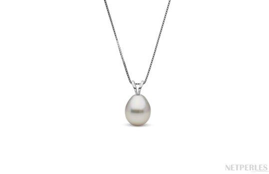 Pendentif Or Gris avec perle d'australie blanche argentée en forme de goutte
