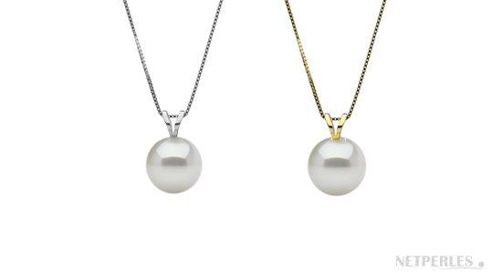 Pendentif en or gris et en or jaune avec une perle blanche d'eau douce