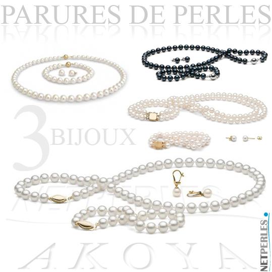 Parure de perles akoya - parures de 3 bijoux de perles associes - perles akoya : bracelet, collier, boucles d'oreilles parfaitement assorties