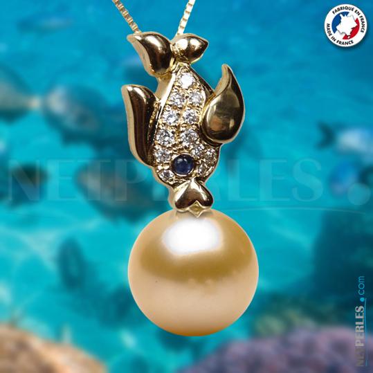 Pendentif perle, poisson en or avec diamants et perle