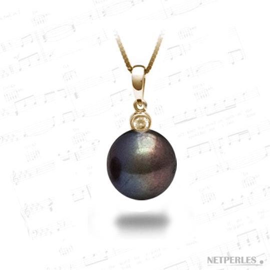 Pendentif Or 18 carats jaune et diamant et perle de culture d'eau douce noire qualité AAA
