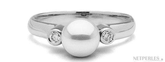 Bague Romantique, Argent 925, Diamants et Perle de culture d'Akoya AAA