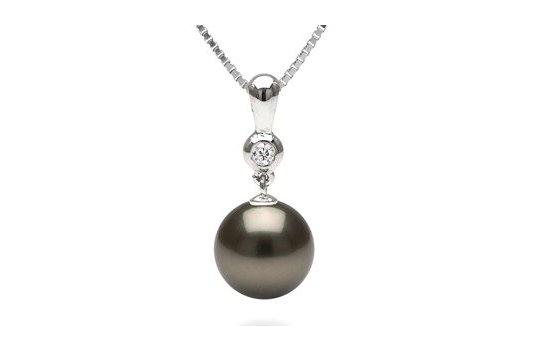 Pendentif Romantique avec perle de Tahiti et un diamant