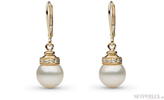 Boucles d'oreilles de perles DOUCEHADAMA en Or Jaune et diamants