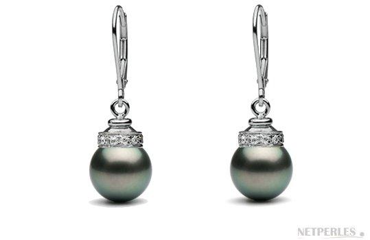 Boucles d'oreilles de perles de culture noires de Tahiti avec diamants en or gris