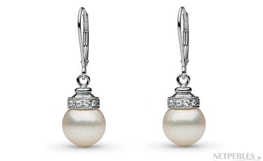 Boucles d'oreilles de perles de culture d'Australie blanches argentées avec diamants