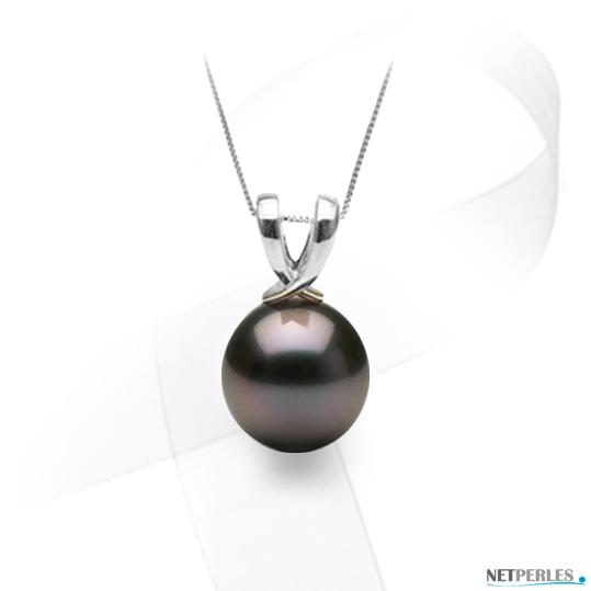 Pendentif Or gris 14 carats en forme de rubran noué et perle de culture de Tahiti qualité AAA à partir de 8 à 9 mm