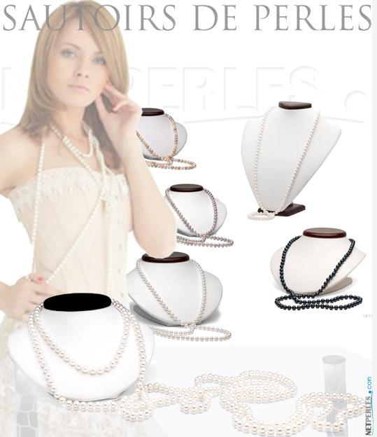 sautoirs de perles - long collier de perles - collier années folles...