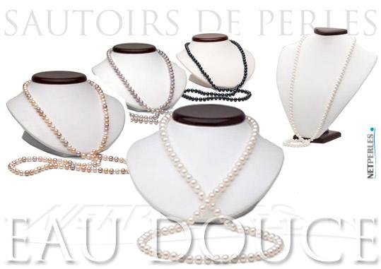 long collier de perles d'eau douce - sautoirs de perles - perles de culture