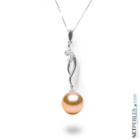 Pendentif Or gris 18 carats avec diamant et perle rose
