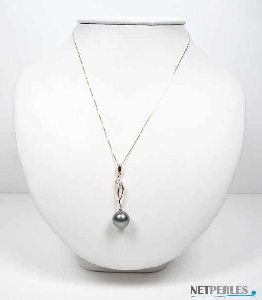 Pendentif en perle de culture de tahiti sur Or 18 carats jaune ou gris et diamants