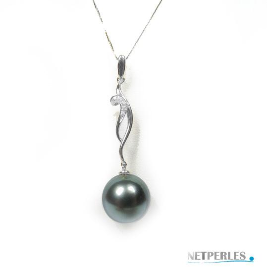 Pendentif Or gris 18 carats et diamants avec perle de tahiti à partir de 8 mm