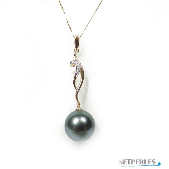 pendentif en or 18 carats et diamant avec perle de tahiti de qualité AA+ ou AAA