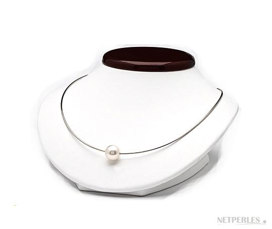 Cable en or 18k avec perle d'australie blanche