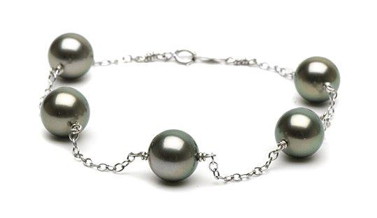 Bracelet perles de Tahiti et chaîne or gris 14k