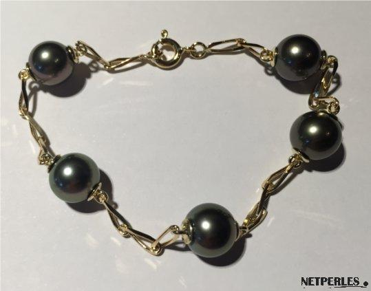 Bracelet perles de Tahiti et chaîne or jaune18k