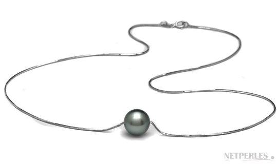 Chaine pendentif Or gris avec perle de Tahiti