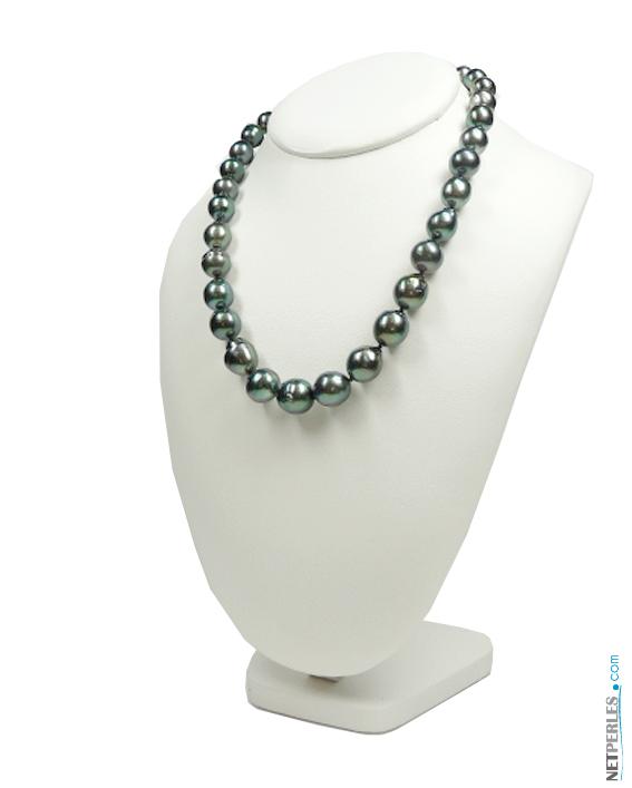 Collier de perles noires, forme baroques qualité AA+