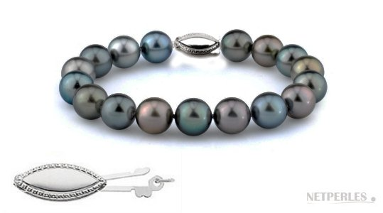 Bracelet de perles de Tahiti multicolores qualité AAA