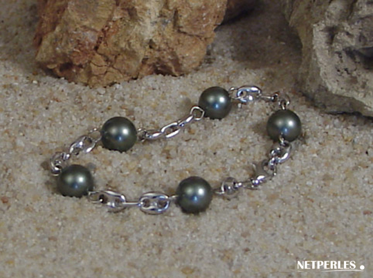 bracelet de perles de culture de tahiti et maille café