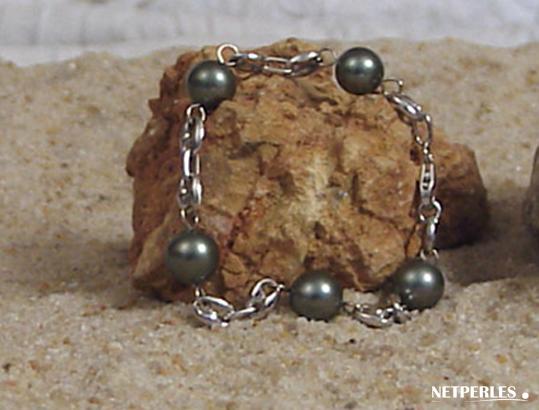 Bracelet de perles de culture de tahiti montees sur maille cafe or gris 18 k