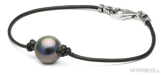 Bracelet en cuir avec perle de Tahiti et fermoir en Argent