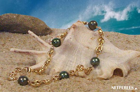 Bracelet de cheville perles de tahiti et maille jason.