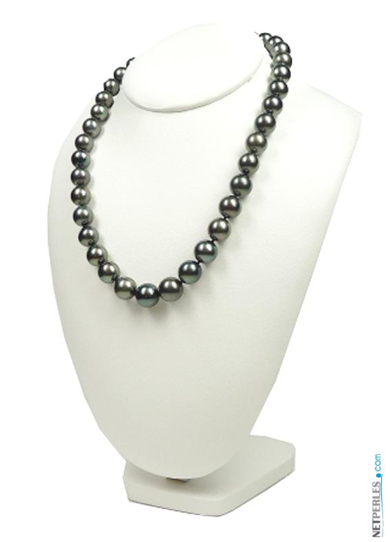 collier de perles noires de tahiti bien spheriques - collier de luxe