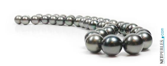 extraordinaire collier de perles noires de tahiti