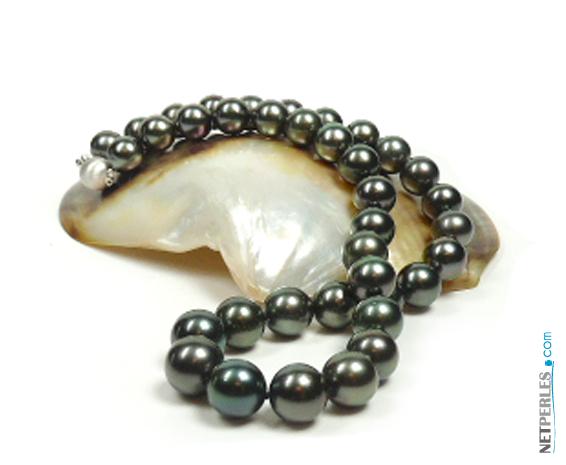 collier de perles noires, perles de tahiti, collier de perles de culture