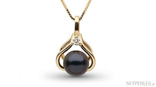 Pendentif en  Or Jaune avec une perle d'Akoya noire 6,5-7 mm AAA