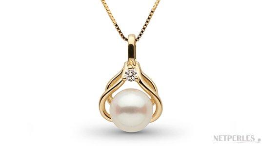 Pendentif en  Or Jaune avec une perle d'Akoya 6,5-7 mm AAA