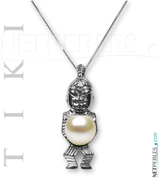 Pendentif Tiki en Argent 925  avec perle de culture d'Akoya