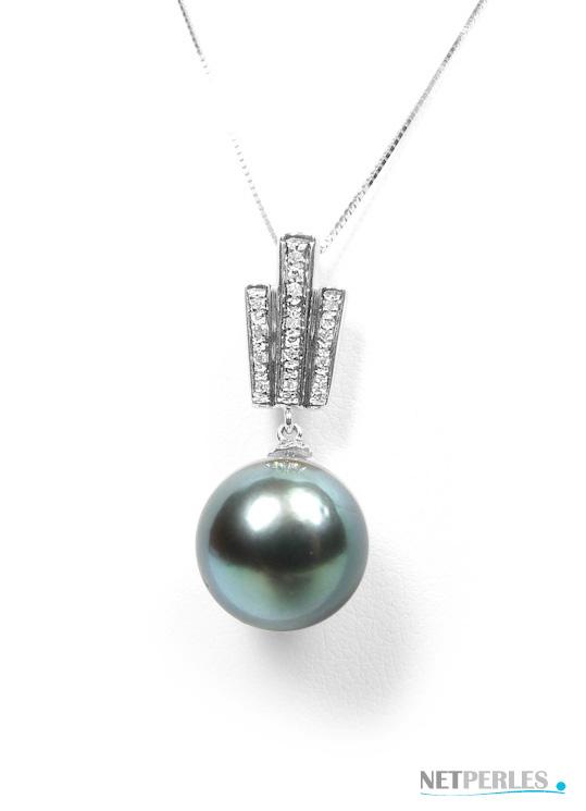 Pendentif Or gris 18 carats avec diamants et perle de culture, perle noire