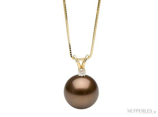 Pendentif Vivian avec perle chocolat de Tahiti