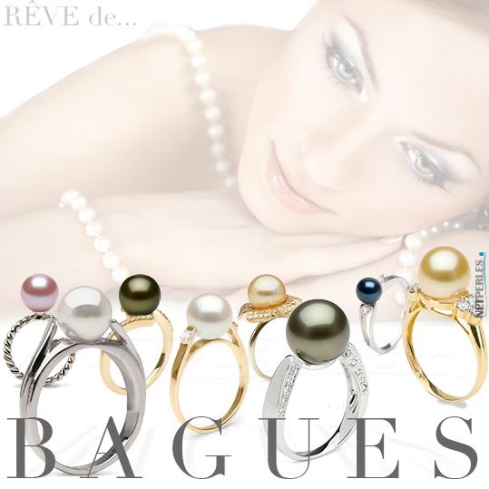 Bague or - bague argent - bague perle