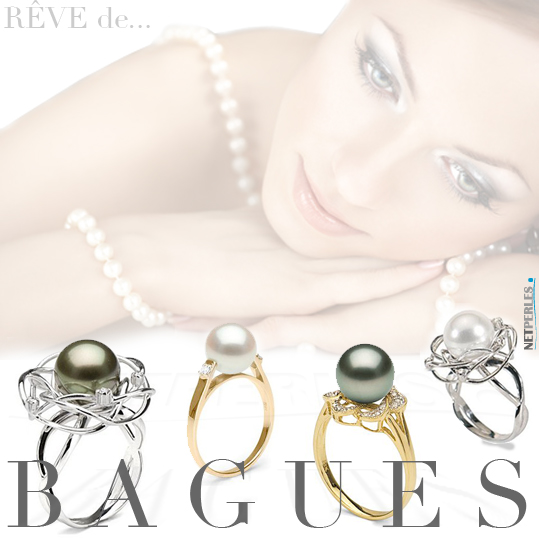 bague perle - perle sur bague - bague en or et perle de culture - perle de culture montees sur bague en Or