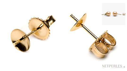 Clous pour boucles d'oreilles de perles en or jaune