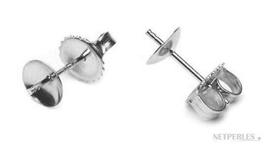 Clous pour boucles d'oreilles de perles en or gris