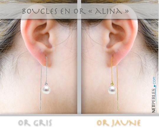 Boucles d'oreilles chaine avec perle blanche, vue sur mannequin