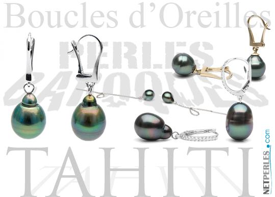 Boucles d'oreilles perles baroques de Tahiti