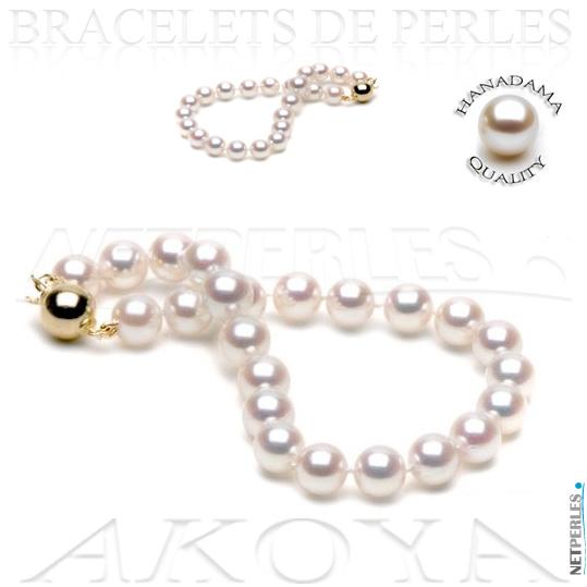 bracelet de perles blanches du japon - perles haut de gamme - bracelets de perles blanches - hanadama