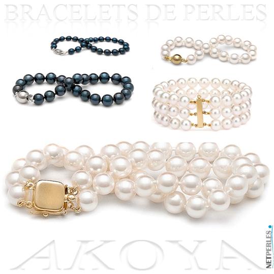 Bracelet de perles blanches - bracelets de perles noires - bracelets de perles akoya - bracelet de perles plusieurs rangs