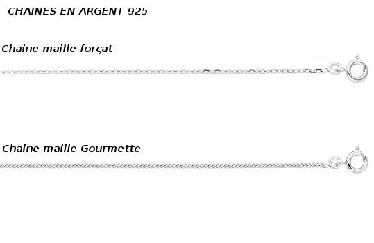 chaines en argent 925 pour pendentifs de perles
